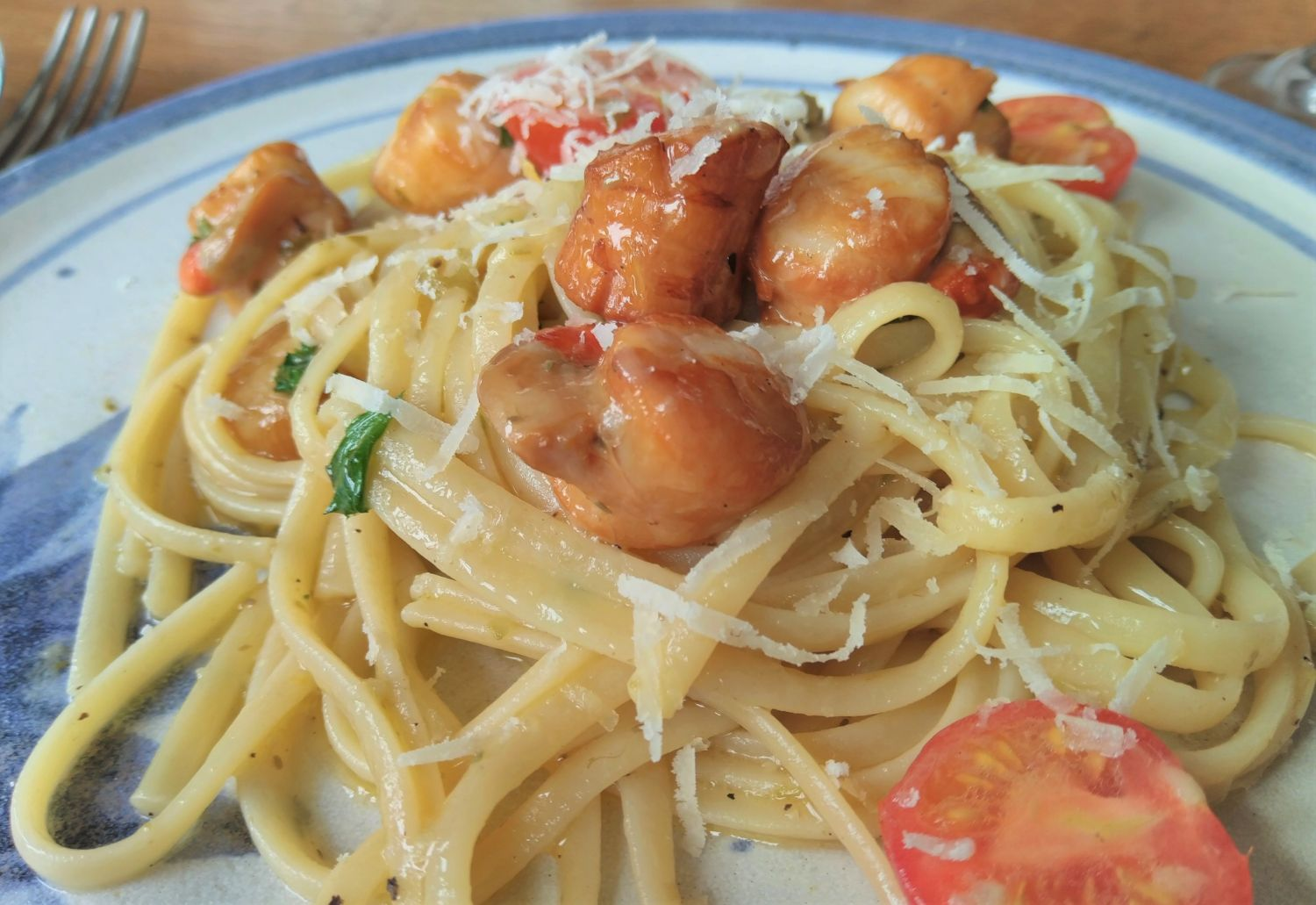 Smoked Orkney Queenies (Queen Scallops) with Lemon Caper Pasta